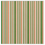 [ Thumbnail: Coral, Dark Green, and White Stripes Fabric ]