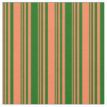 [ Thumbnail: Coral & Dark Green Colored Lines/Stripes Pattern Fabric ]