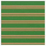 [ Thumbnail: Coral & Dark Green Colored Pattern of Stripes Fabric ]
