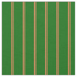 [ Thumbnail: Coral & Dark Green Lined Pattern Fabric ]