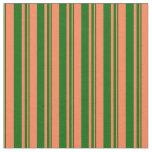[ Thumbnail: Coral & Dark Green Lines/Stripes Pattern Fabric ]