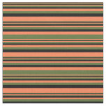 [ Thumbnail: Coral, Dark Olive Green, and Black Stripes Fabric ]