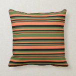 [ Thumbnail: Coral, Dark Olive Green, and Black Stripes Pillow ]