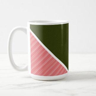Coral Dark Olive Green Coffee Mug