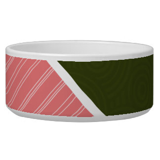 Coral & Dark Olive Green Dog Water Bowls