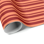 [ Thumbnail: Coral & Dark Red Colored Striped Pattern Wrapping Paper ]