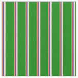 [ Thumbnail: Coral, Dark Slate Blue, Beige, and Green Stripes Fabric ]