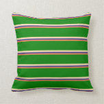 [ Thumbnail: Coral, Dark Slate Blue, Beige, and Green Stripes Throw Pillow ]