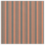 [ Thumbnail: Coral & Dark Slate Gray Colored Lines Fabric ]