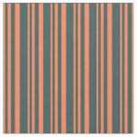 [ Thumbnail: Coral & Dark Slate Gray Lines Fabric ]