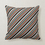 [ Thumbnail: Coral, Dark Slate Gray, Mint Cream & Black Colored Throw Pillow ]