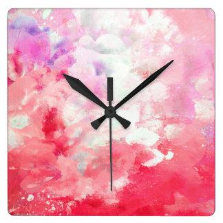 """Coral de los """"taninos"""" y arte abstracto beige reloj cuadrado"""