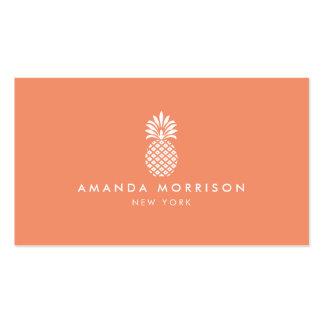 Coral de lujo del boutique de la piña elegante tarjetas de visita