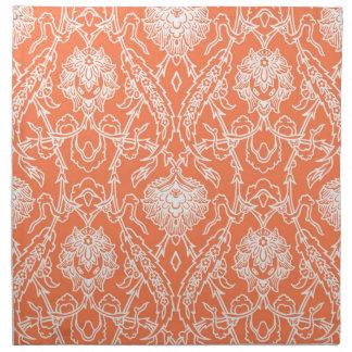 Coral de lujo y modelo blanco del damasco servilletas imprimidas