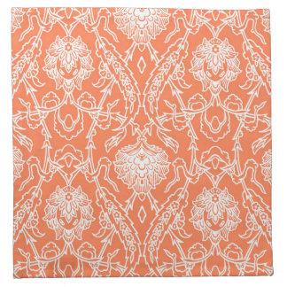 Coral de lujo y modelo blanco del damasco servilleta imprimida