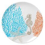 Coral de PixDezines+¡color de fondo de seahorse/DI Platos De Comidas