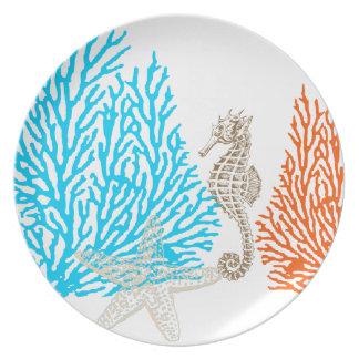 Coral de PixDezines+¡color de fondo de seahorse DI Platos De Comidas
