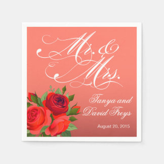 Coral de Sr. y de señora Script Typography Roses Servilletas Desechables