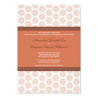 Coral Decorative Stamp Formal Wedding Invitation