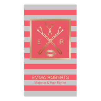 Coral del estilista del artista de maquillaje y tarjetas de visita