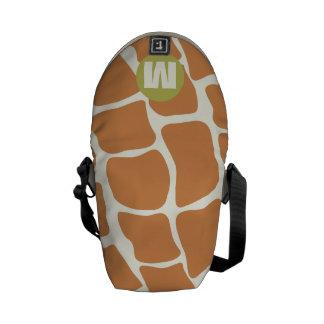 Coral del monograma y modelo de la jirafa de la bolsa de mensajeria