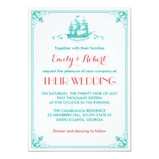 Coral del trullo de la invitación del boda del