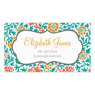 Coral del trullo y damasco floral retro anaranjado tarjetas de visita