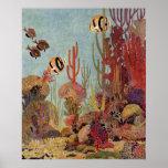 Coral del vintage y pescados tropicales del póster