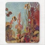 Coral del vintage y pescados tropicales del tapete de ratón