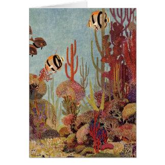 Coral del vintage y pescados tropicales del tarjeta de felicitación