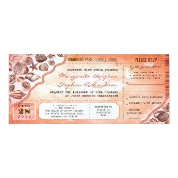 Beach Themed coral destination wedding tickets invitations