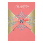 Coral Diamonds Coral Gold Birthday Party RSVP Invites