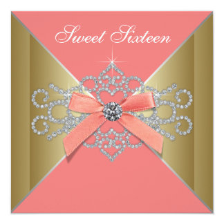 Coral Diamonds Coral Gold Sweet 16 Birthday Party Invitations