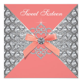 Coral Diamonds Coral Sweet 16 Birthday Party Card