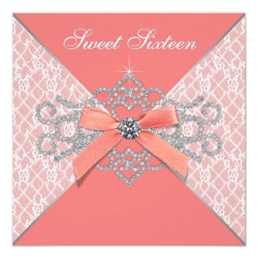 Pure_Elegance Coral Diamonds Coral Sweet 16 Birthday Party Card