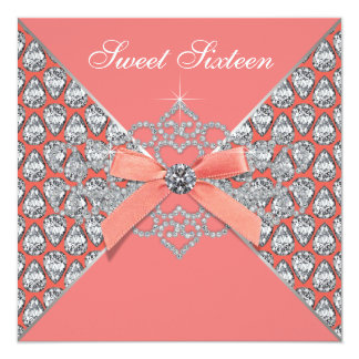 Coral Diamonds Coral Sweet 16 Birthday Party Custom Announcements