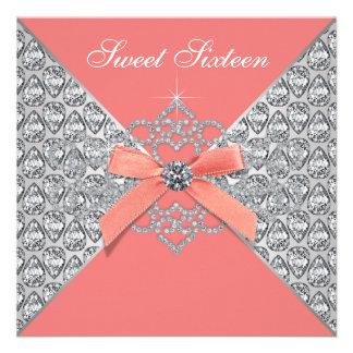 Coral Diamonds Coral Sweet 16 Birthday Party Custom Invites