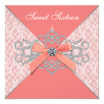Coral Diamonds Coral Sweet 16 Birthday Party Custom Invitation