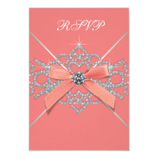 Coral Diamonds Coral Sweet 16 Birthday Party RSVP Card