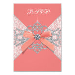 Coral Diamonds Coral Sweet 16 Birthday Party RSVP 3.5x5 Paper Invitation Card