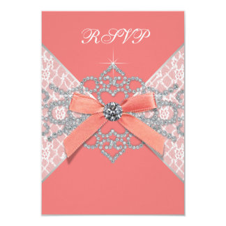Coral Diamonds Coral Sweet 16 Birthday Party RSVP Invite