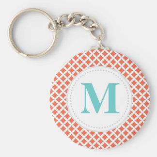 Coral Diamonds Custom Monogram Basic Round Button Keychain