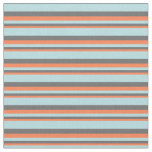 [ Thumbnail: Coral, Dim Gray & Powder Blue Colored Lines Fabric ]