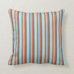 [ Thumbnail: Coral, Dim Gray & Powder Blue Colored Lines Pillow ]