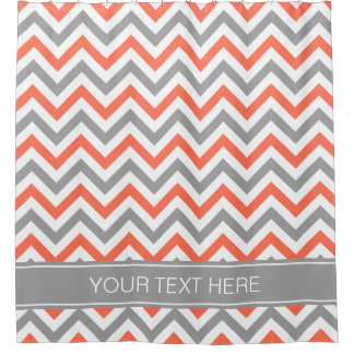Coral Chevron Shower Curtains | Zazzle
