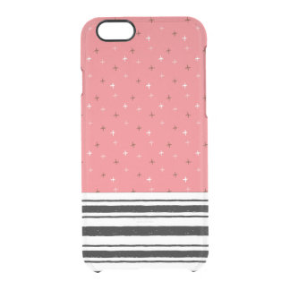 Coral Doodles Bold Black White Stripes Pattern Clear iPhone 6/6S Case