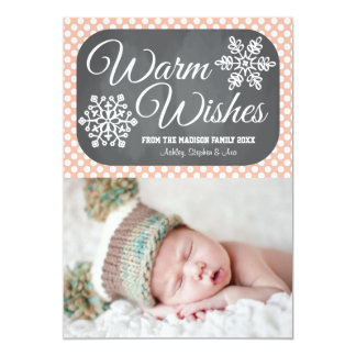 Coral Dot Chalkboard Snowflake Holiday Photo Card Custom Announcement
