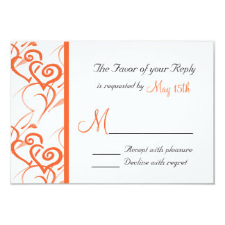 Coral Double Hearts Swirls Vines Wedding RSVP 3.5x5 Paper Invitation Card