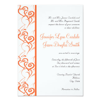 Coral Double Hearts Swirls Wedding Invitations
