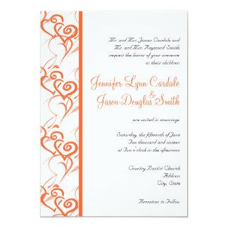 "Coral Double Hearts Swirls Wedding Invitations 5"" X 7"" Invitation Card"
